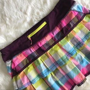 Lululemon Run Pace Setter Skirt Sea Check Plum